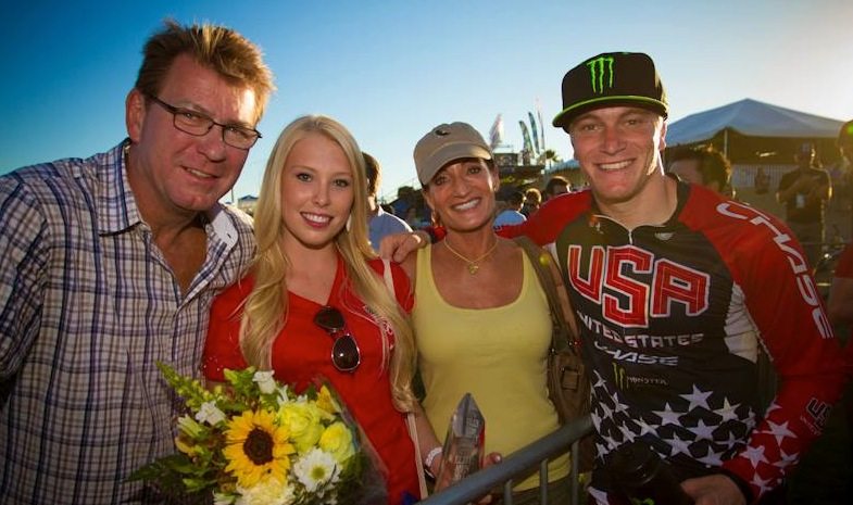 Connor celebrates his overall title in Chula Vista with his Mom, Dad, and Girlfriend