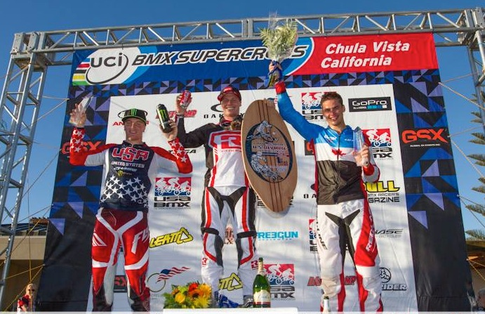 The Chula Vista World Cup podium - 1st Sam Willoughby, 2nd Tory Nyhaug, 3rd Connor Fields